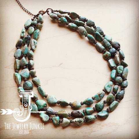 Triple Strand Natural Turquoise & Copper Collar Necklace 250n