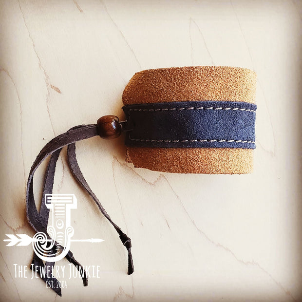 **Leather Cuff w/ Adjustable Leather Suede Tan and Navy 1