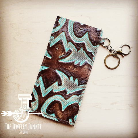 Embossed Leather Sunglasses Case w/ Keychain-Turquoise Laredo 100n