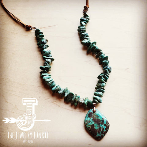 Natural Turquoise Chunky Necklace with Large Natural Pendant 250f