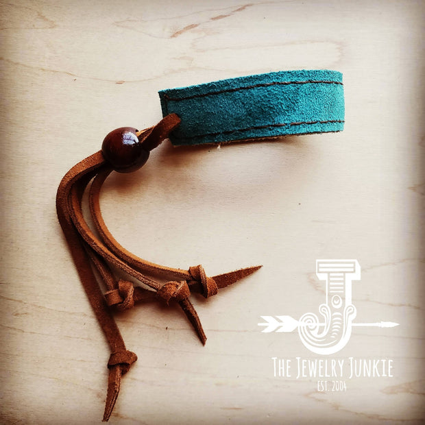Narrow Reversible Leather Cuff in Turquoise Paisley & Suede 002e 1
