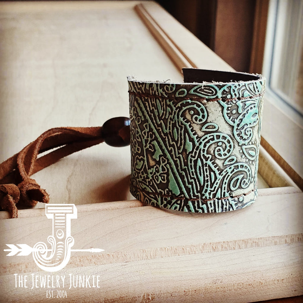 Leather Cuff w/ Adjustable Tie in Turquoise Paisley 002b