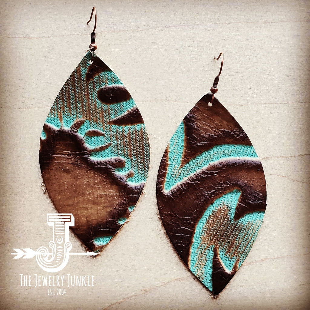 Leather Oval Earrings in Embossed Turquoise Laredo 204c