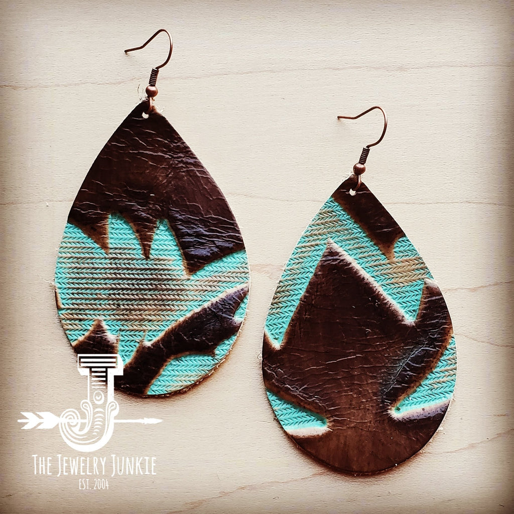 Leather Teardrop Earrings-Brown and Turquoise Laredo 204d