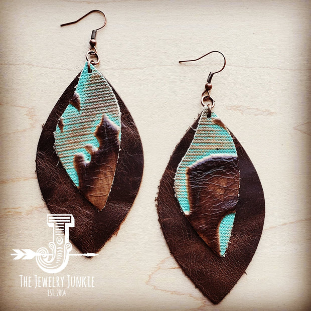 Leather Oval Earrings with Turquoise Laredo Accents 204g 1