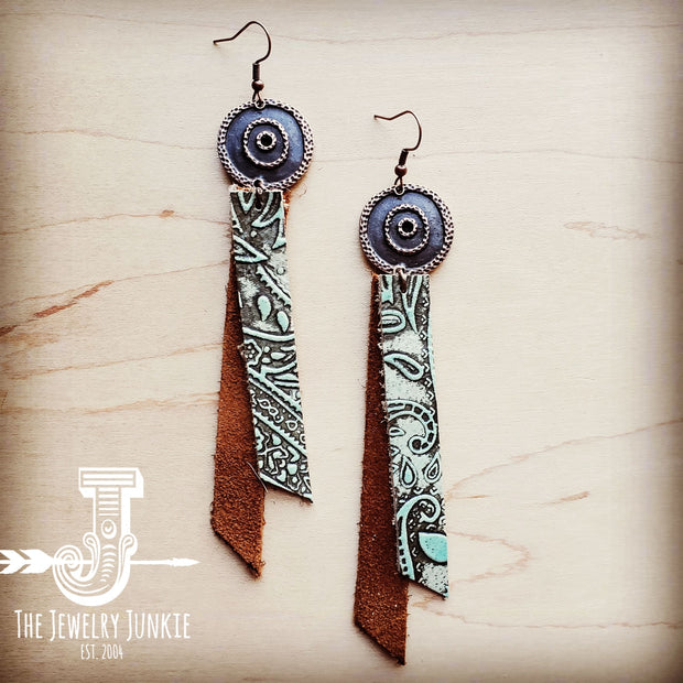 Leather Rectangle Earrings in Turquoise Paisley and Suede 204h 1