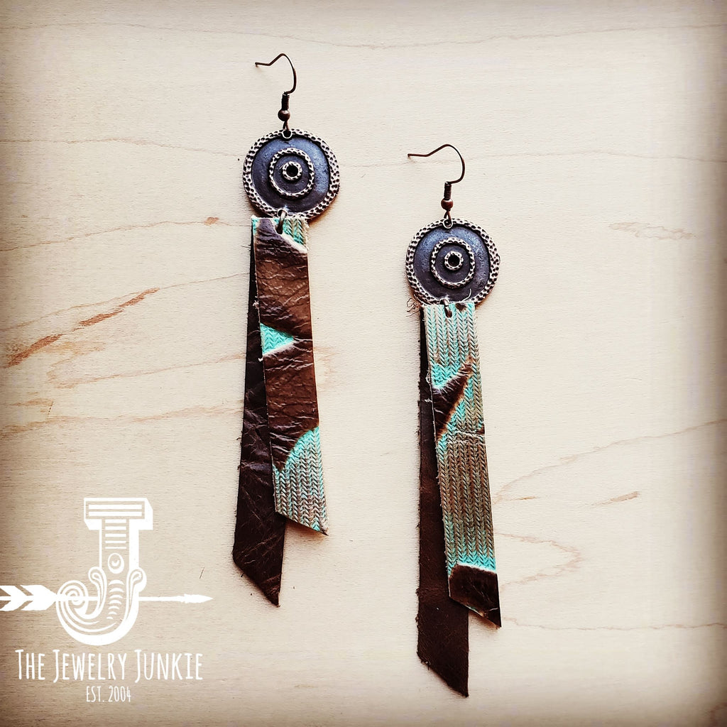 Leather Rectangle Earrings in Turquoise Laredo 204i