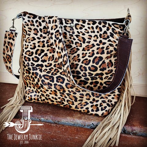 Tejas Leather Bucket Leopard Handbag with Tan Fringe 505h