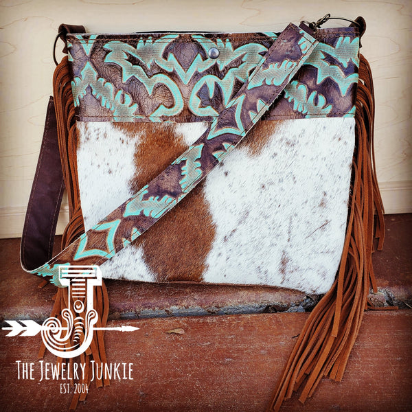 Tejas Leather Bucket Hide Handbag with Turquoise Laredo Accent 505i