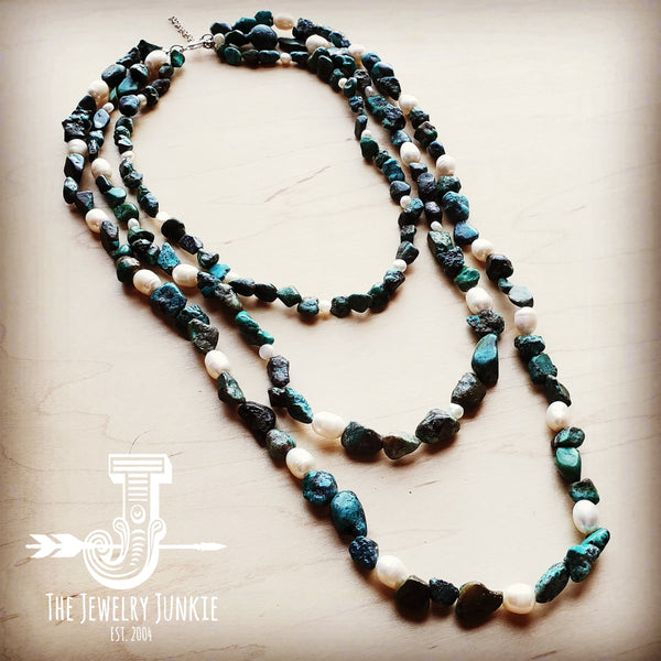 Natural Turquoise and Freshwater Pearl Triple Strand Necklace 251w