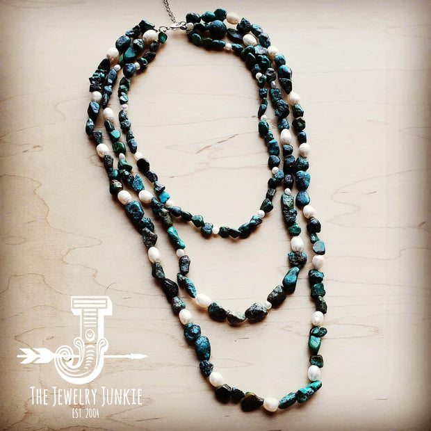 Natural Turquoise and Freshwater Pearl Triple Strand Necklace 251w 1
