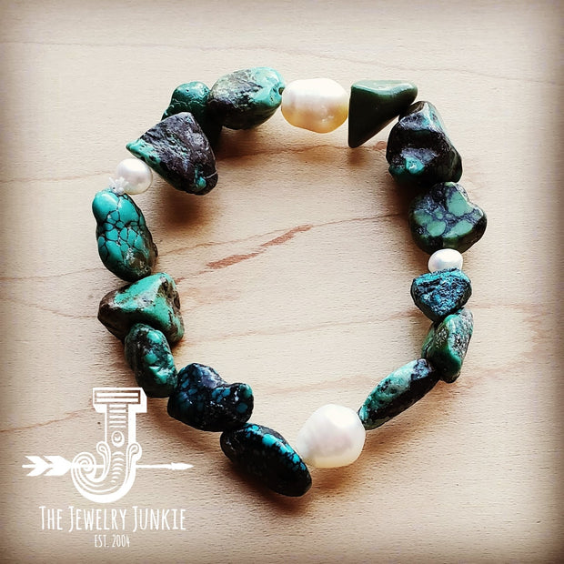 Natural Turquoise and Freshwater Pearl Stretch Bracelet 804r 1