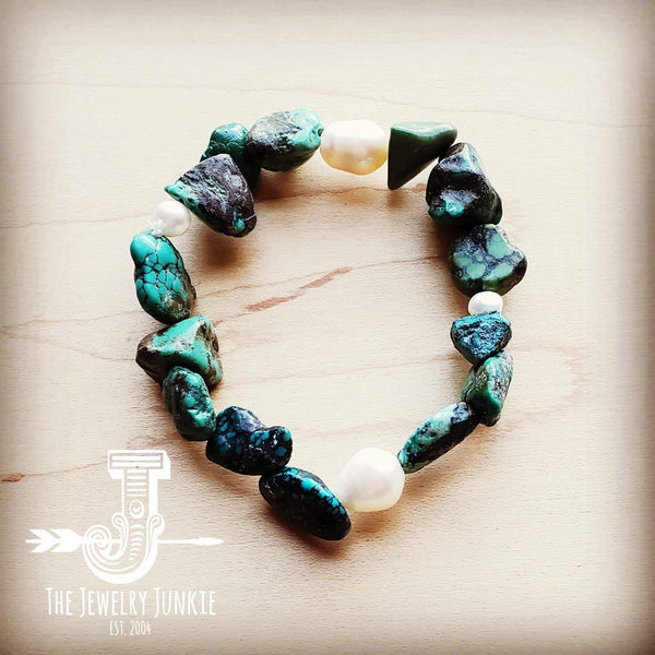 Natural Turquoise and Freshwater Pearl Stretch Bracelet 804r