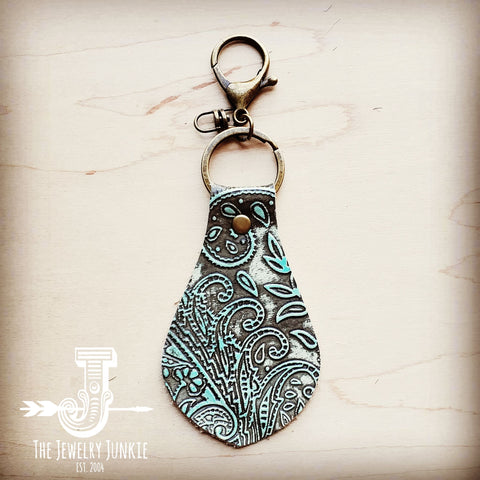 Embossed Leather Key Chain -Turquoise Paisley 701s