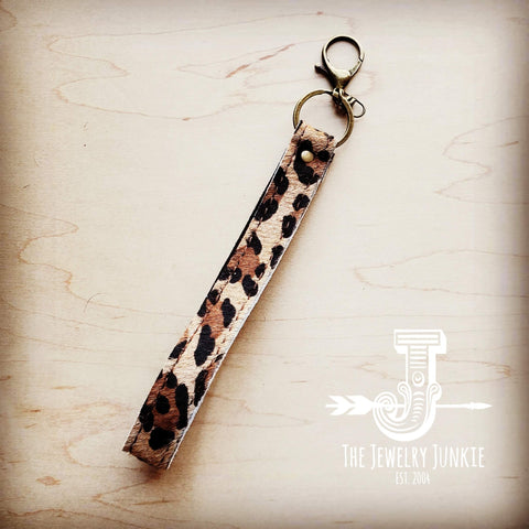 Embossed Leather Key Chain Strap Leopard 701p