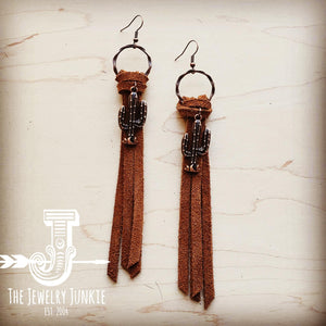 Suede Leather Tassel Earrings w/ Cactus Charm 204a