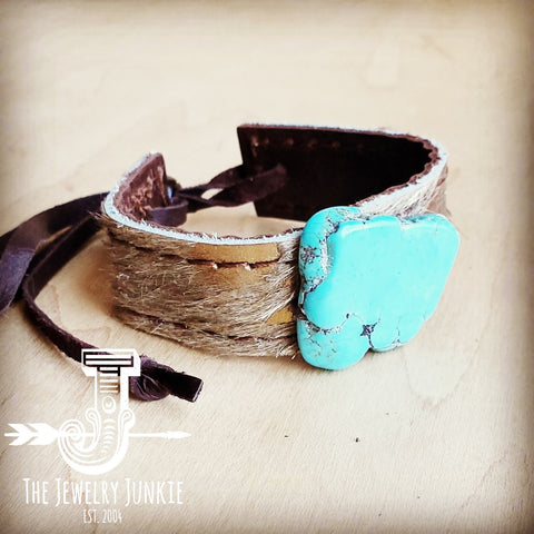 Narrow Leather Cuff w/ Turquoise Slab-Tan Metallic 002m