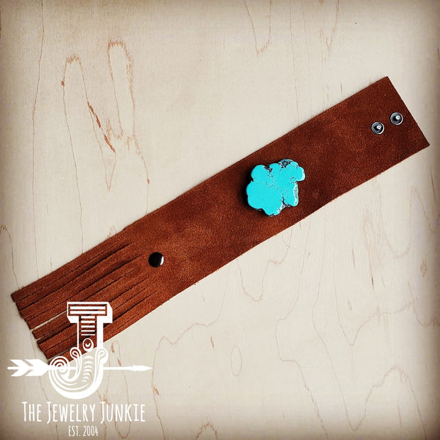 Tan Suede Leather Cuff w/ Fringe and Turquoise Slab (002o) 1