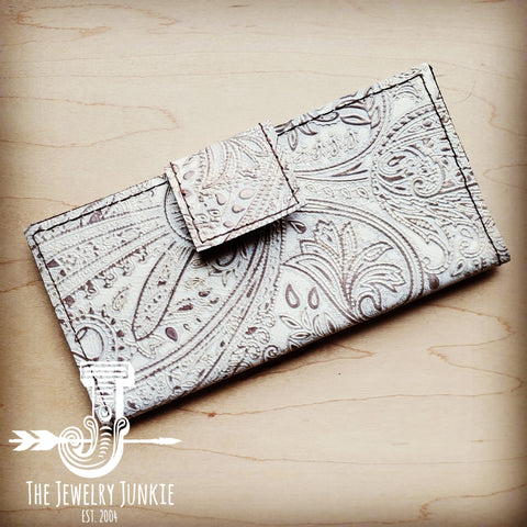 Embossed Leather Wallet in Oyster Paisley w/ Snap 301p