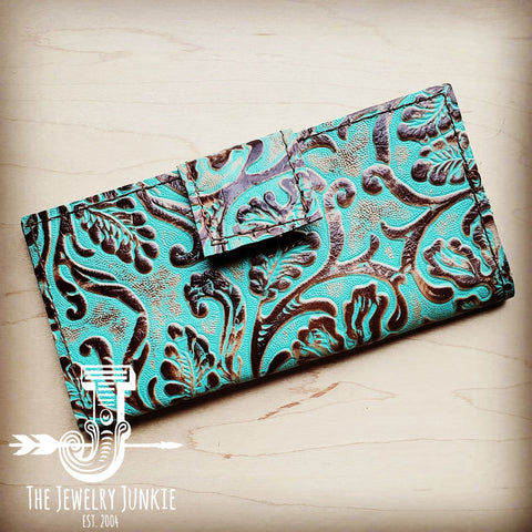 Embossed Leather Wallet in Cowboy Turquoise w/ Snap 301q