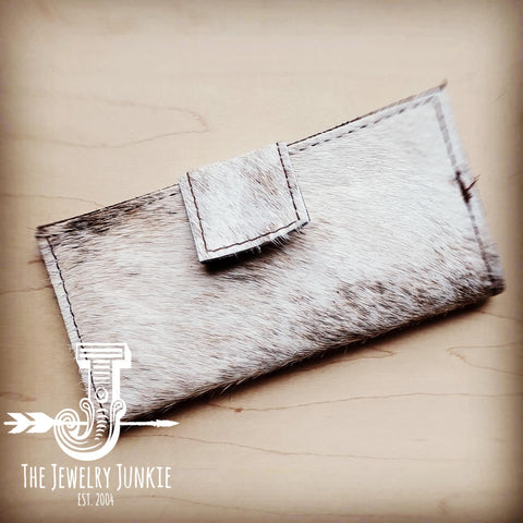 Hair on Hide Leather Wallet in Brindle w/ Snap 301s
