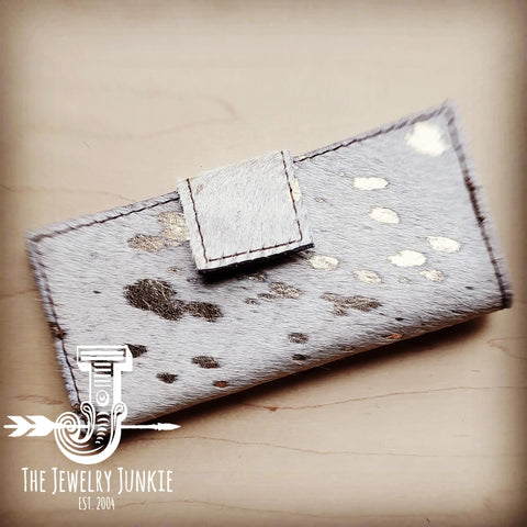 Hair on Hide Leather Wallet in White Gold w/ Snap 301t