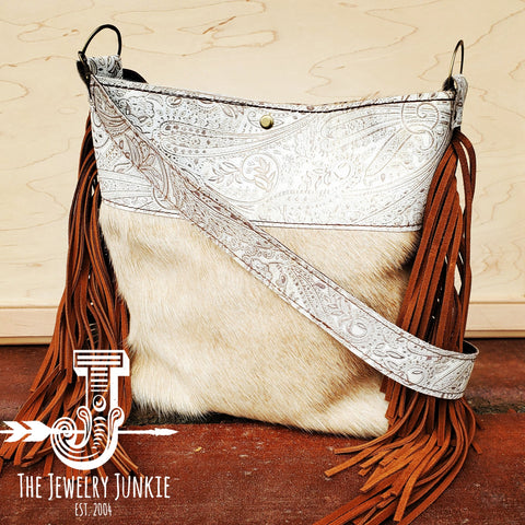 Tejas Leather Bucket Hide Handbag with Oyster Paisley Accent 505k