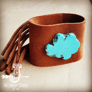 Tan Suede Leather Cuff w/ Fringe and Turquoise Slab (002o)