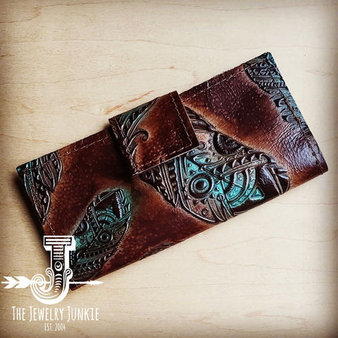 Turquoise Feather Embossed Leather Wallet with Snap 301v