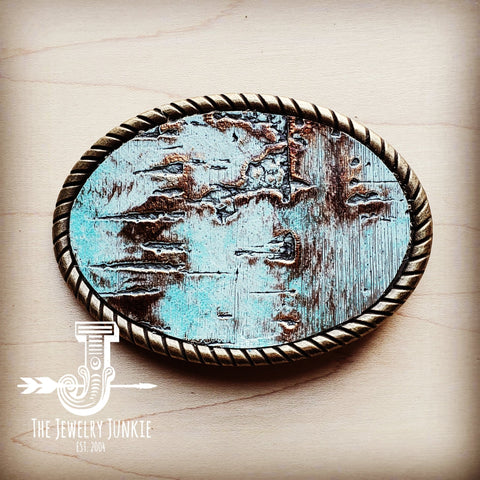 Rope Edge Turquoise Metallic Leather Belt Buckle 902a