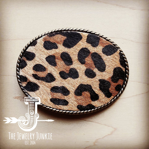 Rope Edge Leopard Hair on Hide Leather Belt Buckle 902d
