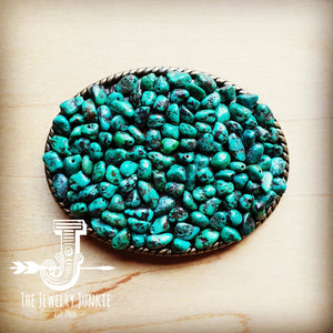 Rope Edge Natural Green Turquoise Stone Belt Buckle 902i