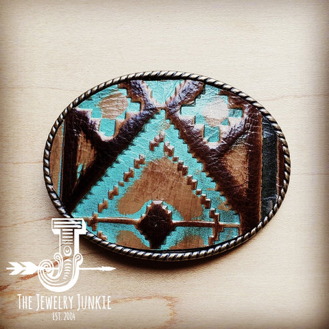Rope Edge Navajo Leather Belt Buckle 901q