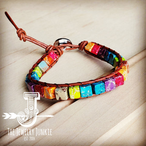 Narrow Woven Regalite Stacked Stone Bracelet-Brights 804u