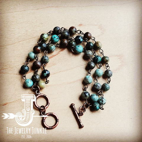 African Turquoise Triple Strand Bracelet 804s