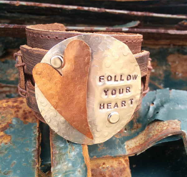 FOLLOW YOUR HEART Distressed Leather Cuff 004E - The Jewelry Junkie
