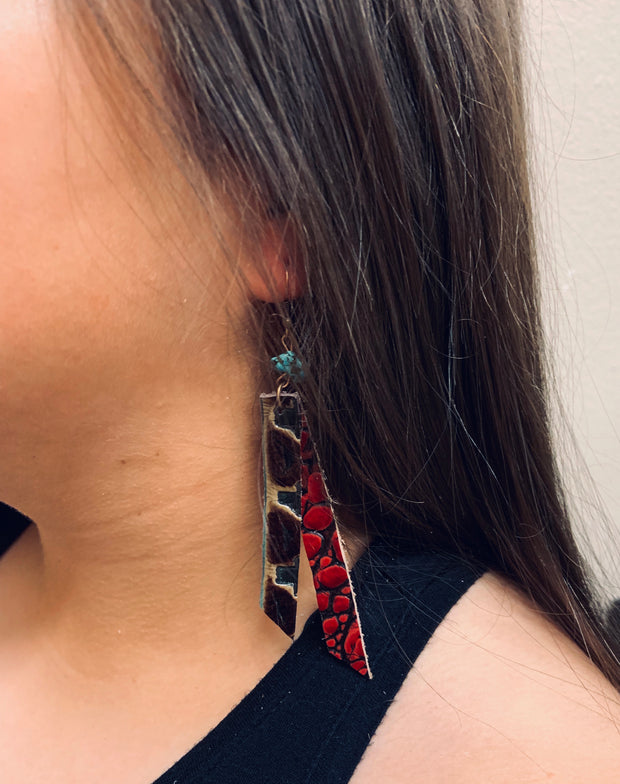 Leather Rectangle Earrings w/ Turquoise in Turquoise Navajo 224w 1