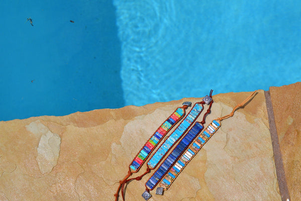 Woven Stacked Stone Regalite Bracelet-Brights 803z