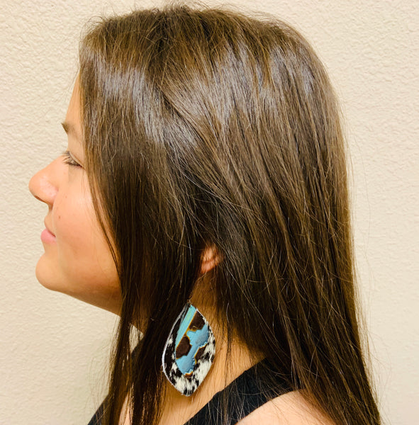 Leather Oval Gray Hide Earrings with Blue Navajo Accents 225a