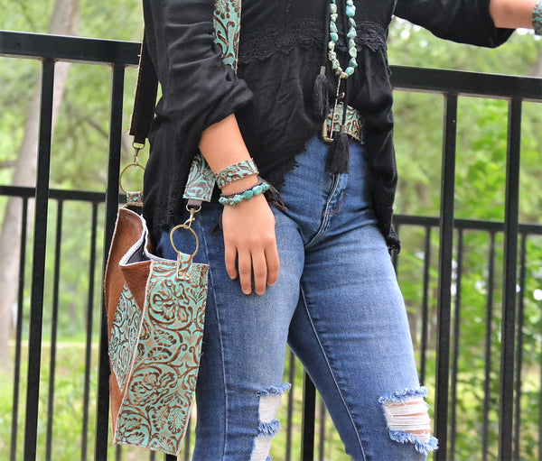 Cowboy Turquoise Genuine Leather Belt 901L