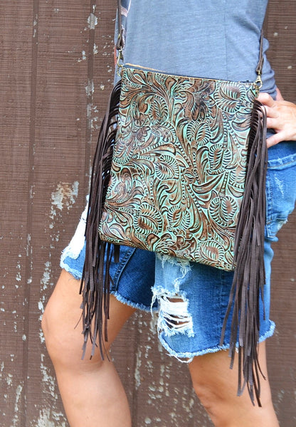 Embossed Leather Turquoise Brown Floral Crossbody Handbag 503q