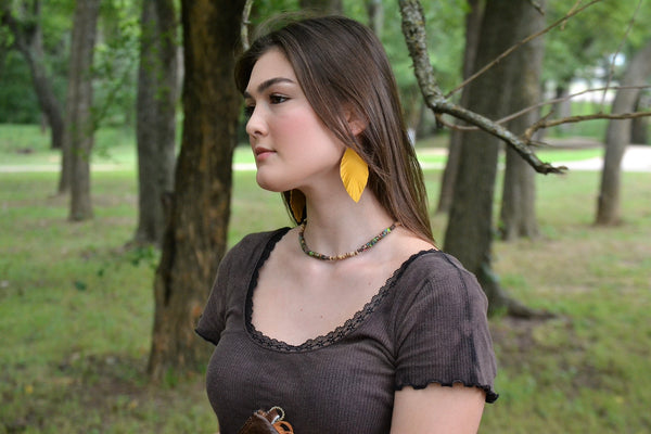 Yellow Suede Feather Earrings-Medium (202g)