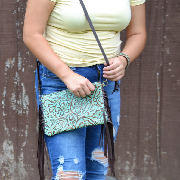 Embossed Cowboy Turquoise Leather Clutch Handbag 503n