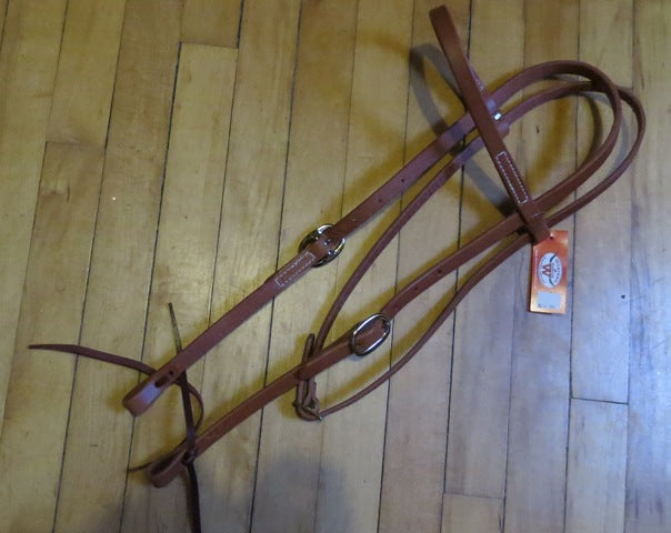 Harness Leather Headstall - Stainless Hardware