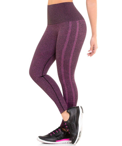 CYSM 902 Ultra Compression and Abdomen Control Fit Leggings Fuchsia Jaspe