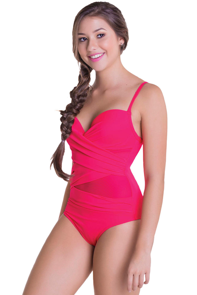 317f360a9d Chamela 18575 Powernet Swimsuit Control Draped Body Molding One-Piece – My  Fab Fit