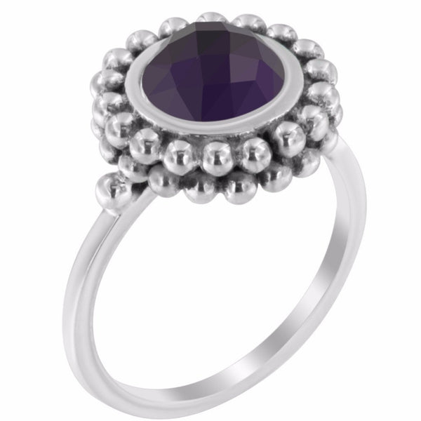 Amna Ring - Sterling Silver with Amethyst Stone