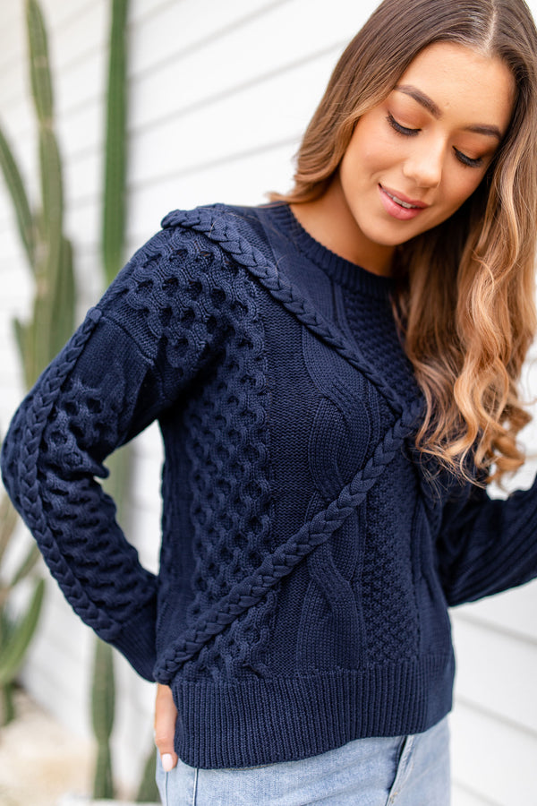 LUSTRE KNIT - NAVY BLUE