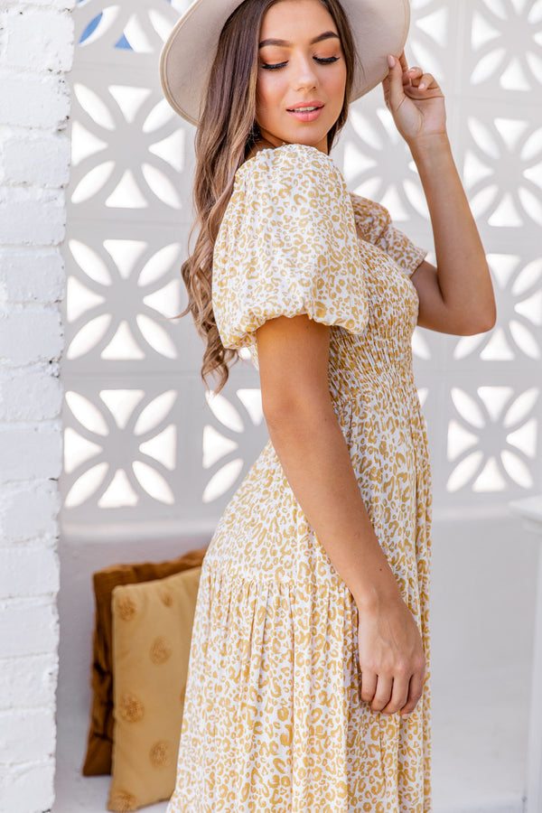BONNIE DRESS - YELLOW LEOPARD