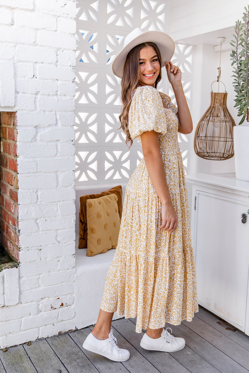 BONNIE DRESS - YELLOW LEOPARD - The Self Styler
